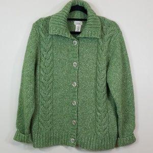 LL Bean Knit Green Wool Button Down Sweater